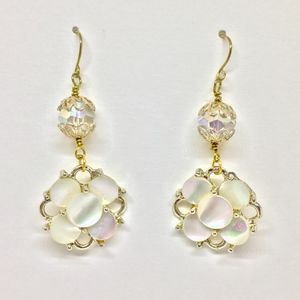 Up Cycled Mother of Pearl & Crystal Drop Earrings.